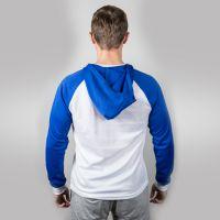 Футболка мужская с синими длинными рукавами и капюшоном — 48 (L)