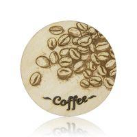 """Коастер дерево с графировкой """"Coffee"""" D80 мм"""