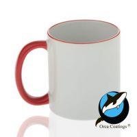 Кружка керамика белая, ободок и ручка красная повышенное качество 330мл