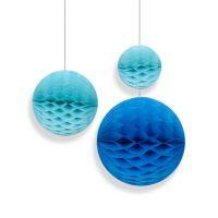 Набор помпонов в виде круга голубой 3 штуки (h20, h15, h10см)