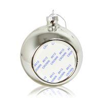 Шар елочный стекло серебро (со вставкой для сублимации D51мм) D80мм