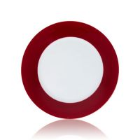 Тарелка керамика белая с орнаментом красный край 200мм
