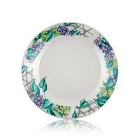 Тарелка керамика белая с орнаментом цветы 200мм стандарт