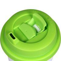 Термостакан пластик белый с зелёной крышкой 500мл